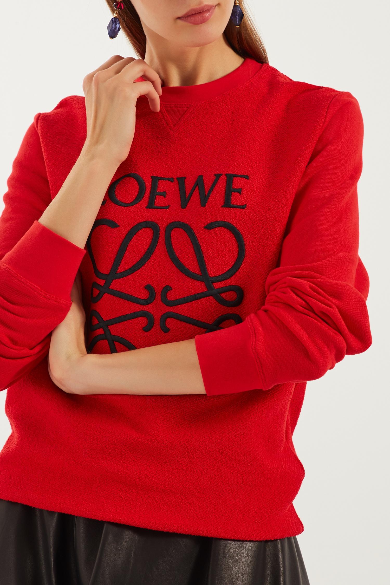 LOEWE Красный хлопковый свитшот