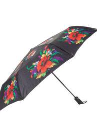 Зонт FLIORAJ 190202 цветочный принт черный