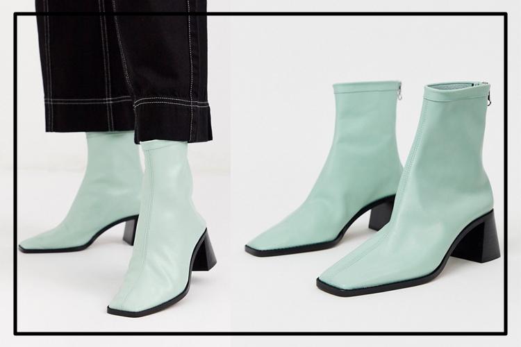 Зеленые кожаные ботильоны на среднем каблуке ASOS DESIGN - Riverside