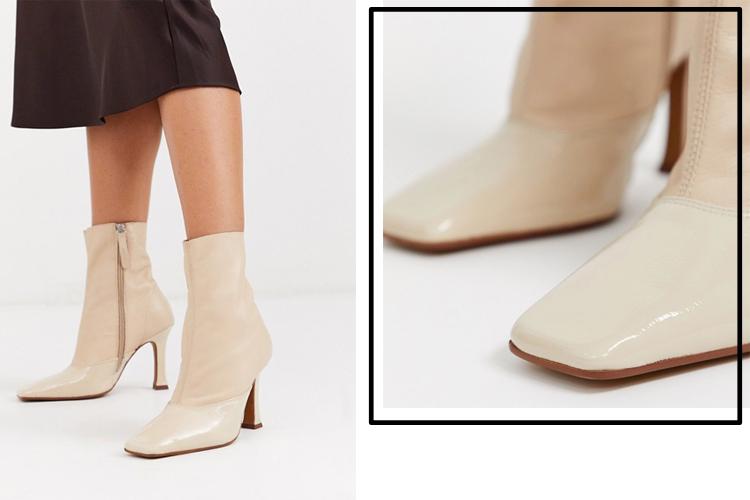 Ботильоны кремового цвета из премиум-кожи и на каблуке ASOS DESIGN Ellie