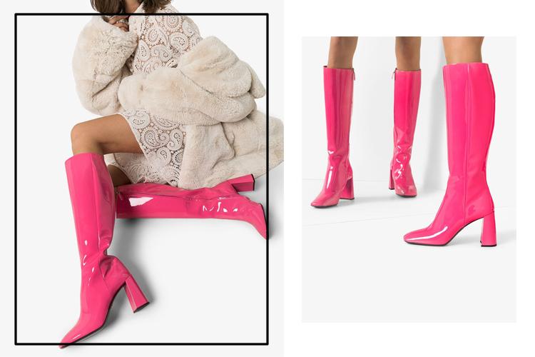 Сапоги на каблуке с квадратным носком