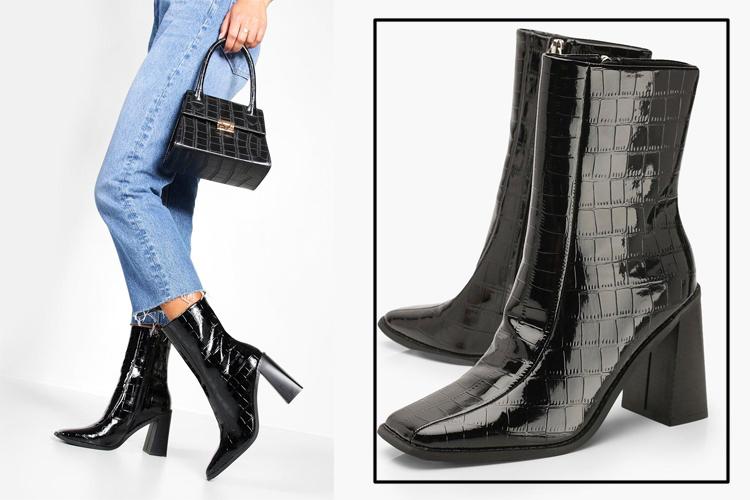 Сапоги-носки с квадратным мыском на каблуке под крокодила