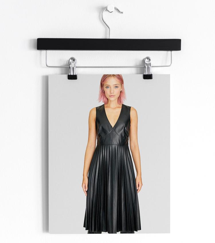 плиссированное платье из кожи