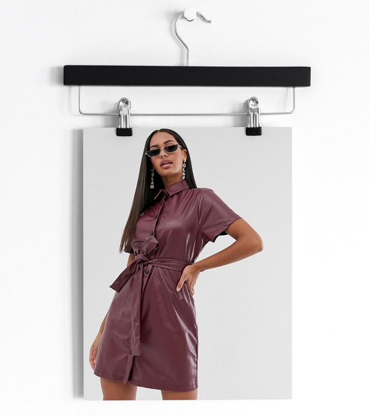 Бордовое платье-рубашка из искусственной кожи с поясом