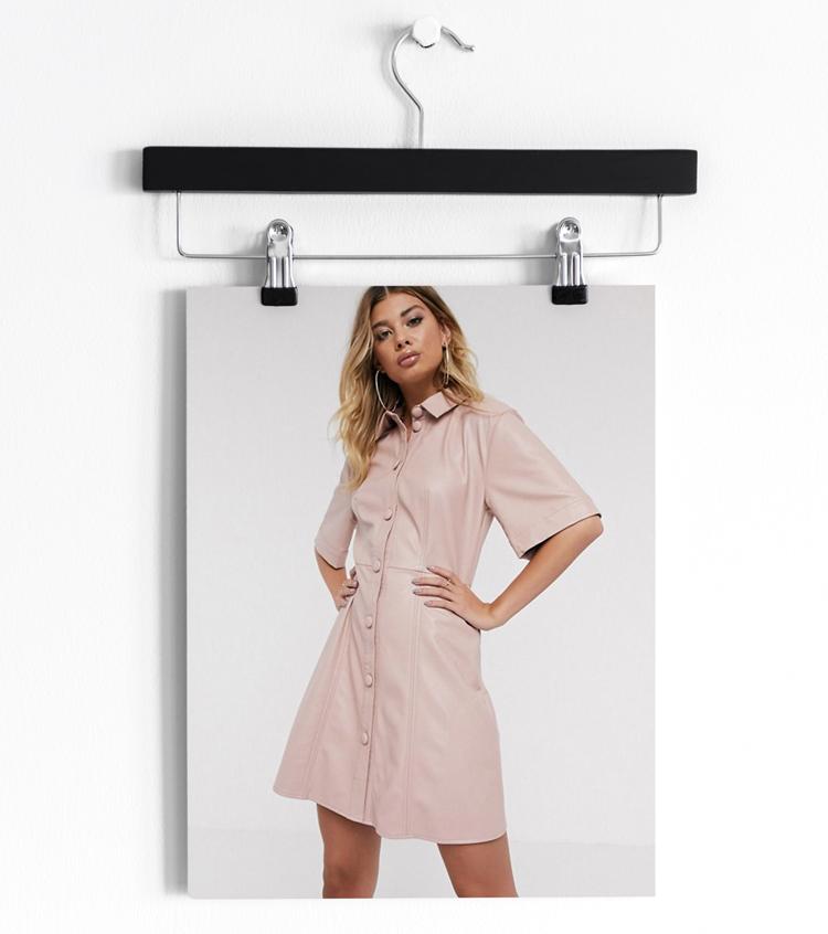 Платье-рубашка мини на пуговицах из искусственной кожи