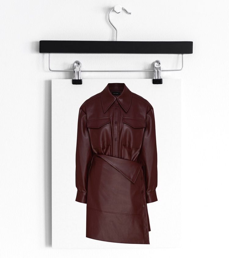 Платье-рубашка оттенка бургунди
