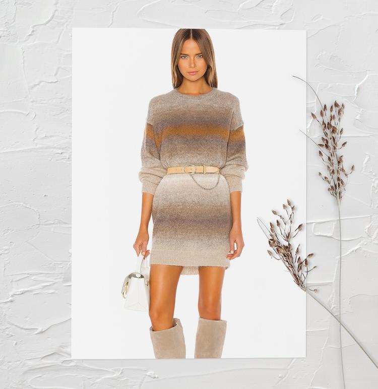 Вязанное полосатое платье