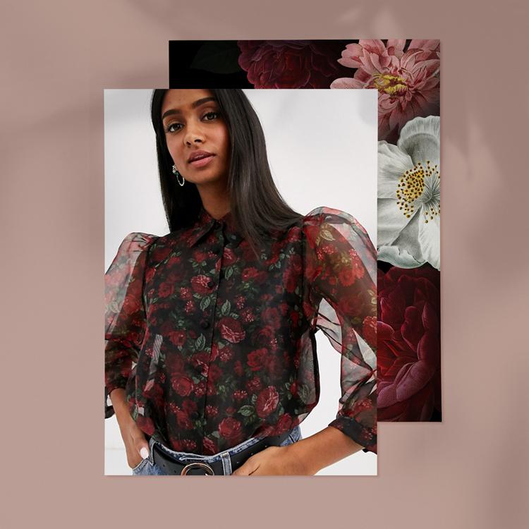 Рубашка из органзы с цветочным принтом Stradivarius