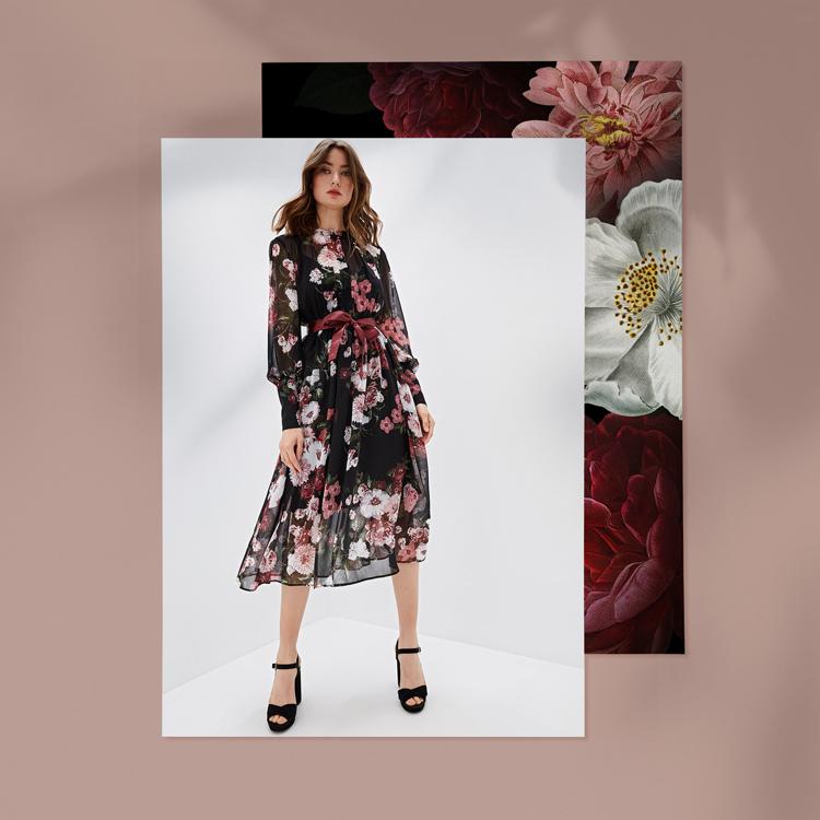 платье с крупными цветами