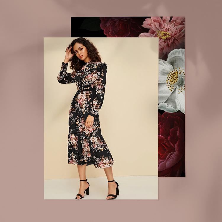 Платье С Цветочным Принтом И Пуговицами