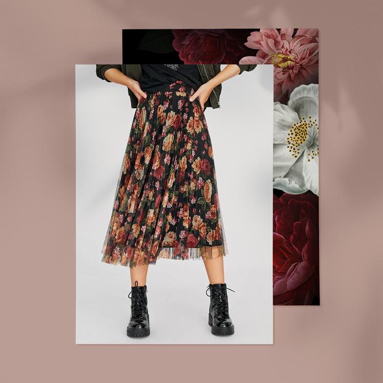 юбка с цветочным принтом на чёрном фоне