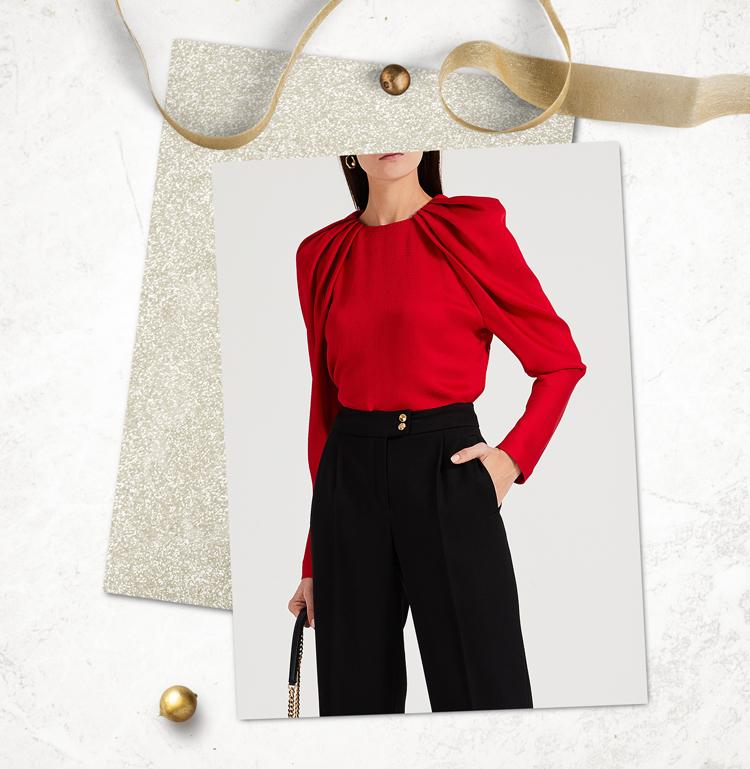 Блуза красного цвета с драпировкой