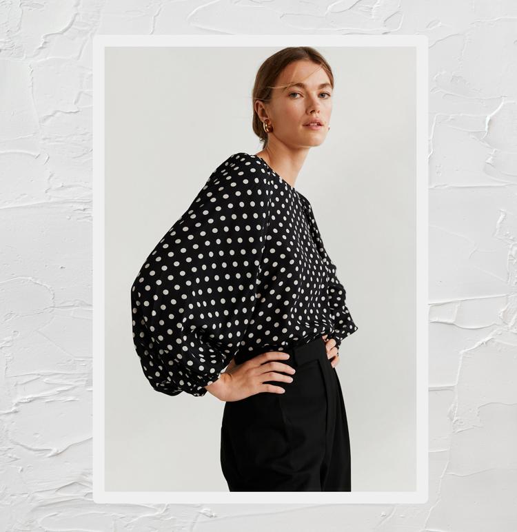 Блузка с принтом в горошек