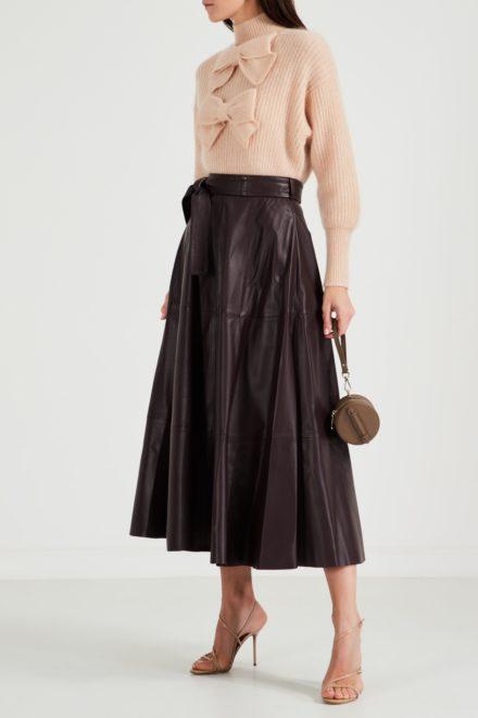 Плиссированная кожаная юбка с поясом Resistance