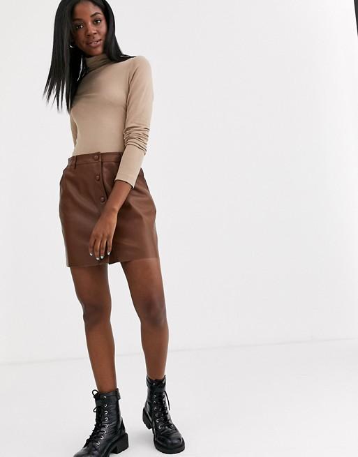 Светло-коричневая юбка из искусственной кожи на пуговицах