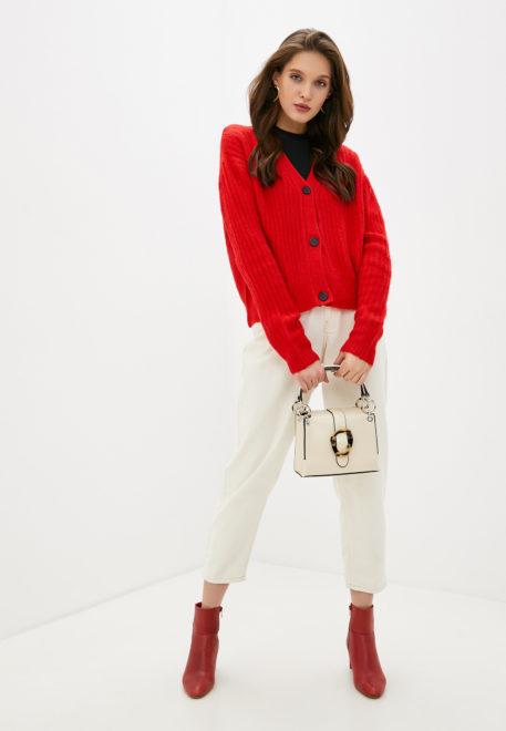 Красный модный кардиган