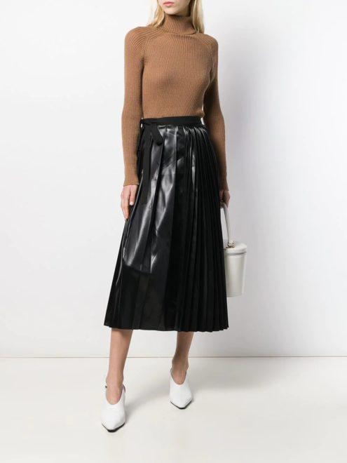 плиссированная юбка из искусственной кожи