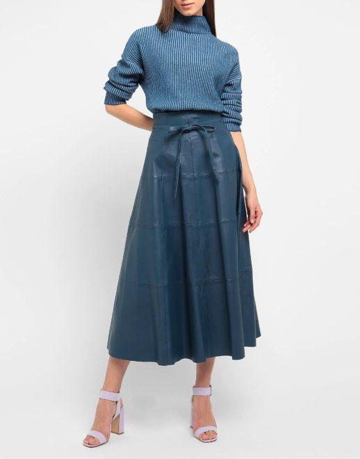 Модная миди юбка из кожи 2020