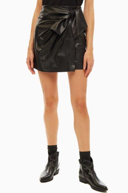 Короткая черная юбка с завязками