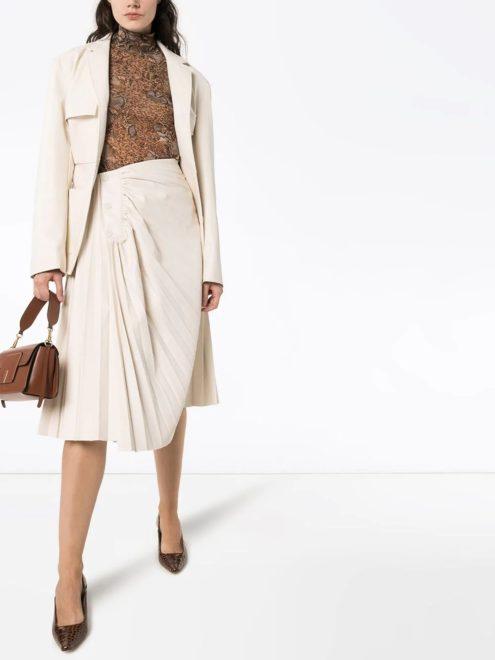 юбка миди из искусственной кожи с плиссировкой
