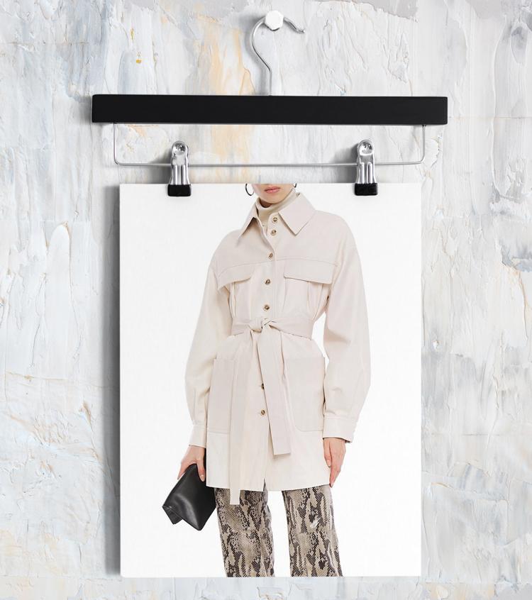 Куртка-рубашка из кожи женская