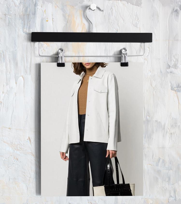 Белая куртка-рубашка из кожи