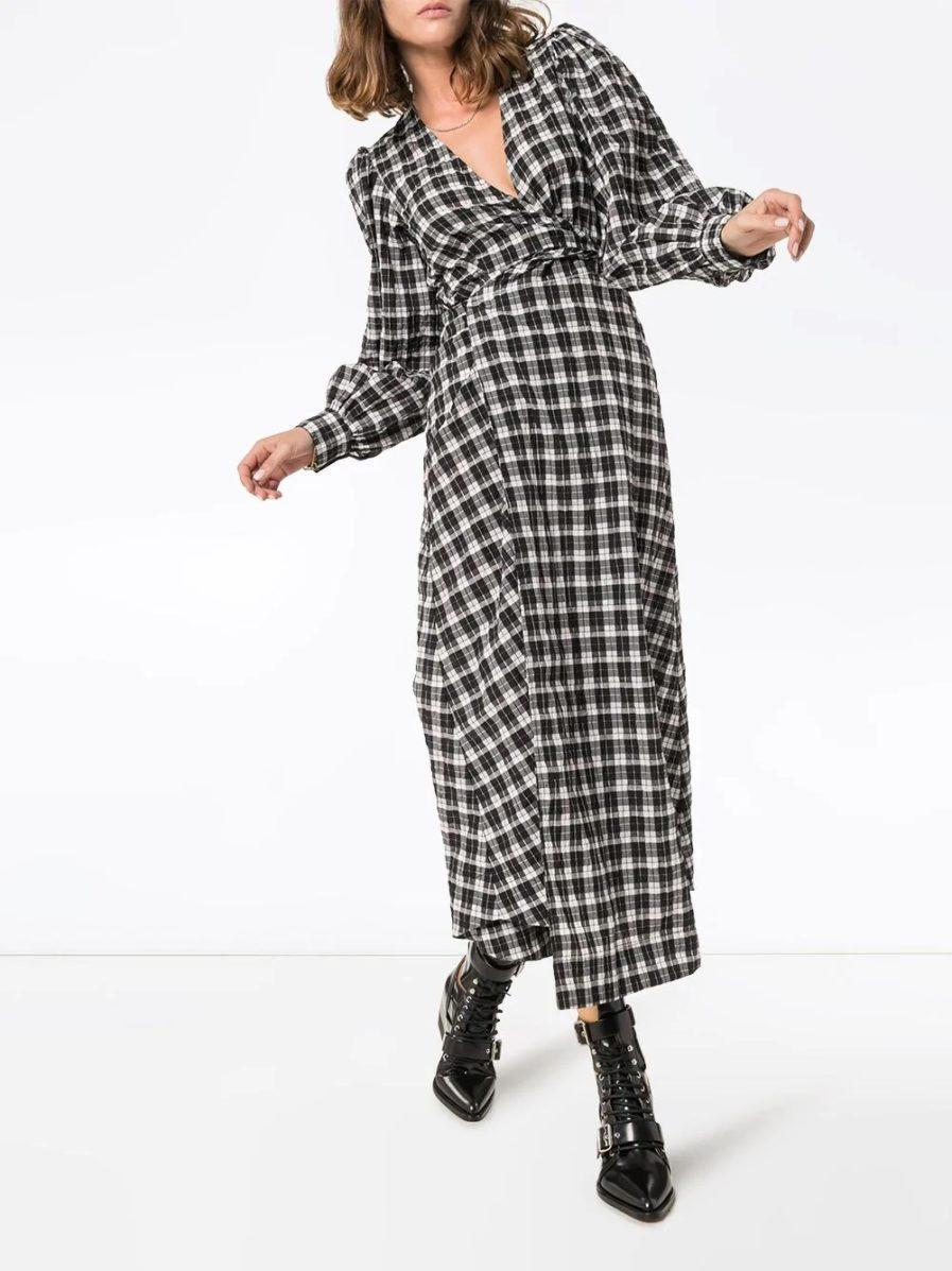 GANNI клетчатое платье макси