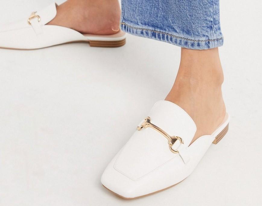 Белые лоферы с квадратным носком без задника