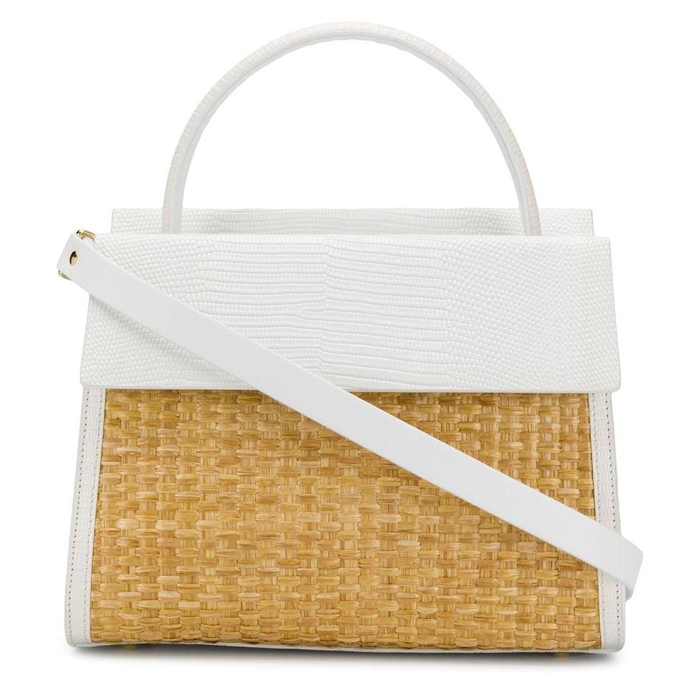 сумка-тоут из кожи с плетеной отделкой