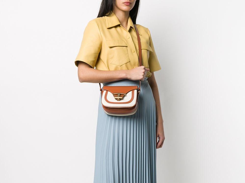Комбинированная сумка из кожи и парусины