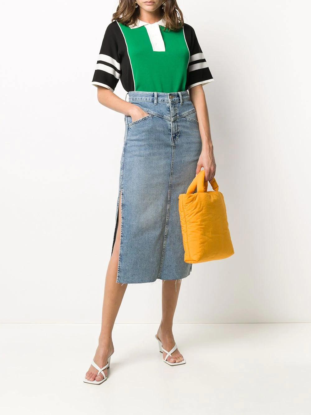 джинсовая юбка миди с эффектом потертости