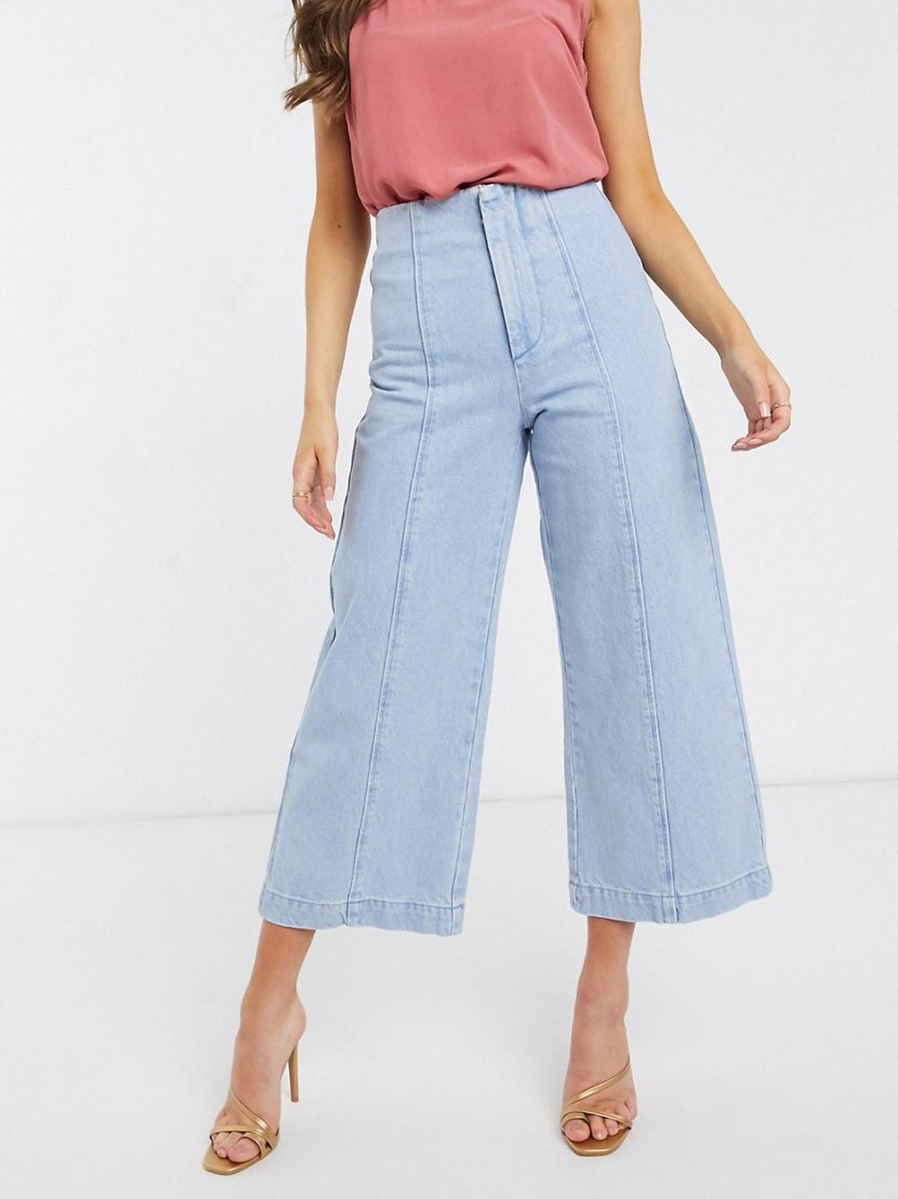 Ярко-синие широкие джинсы с отделочными швами