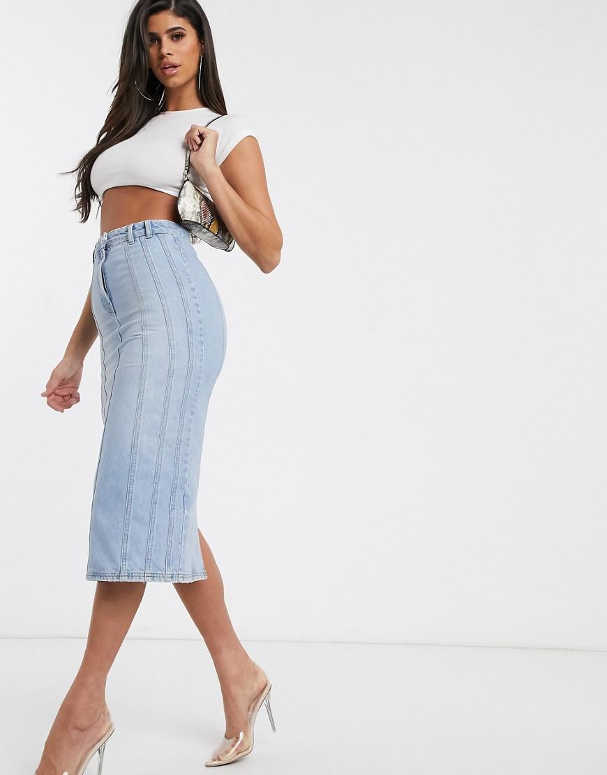 Джинсовая юбка миди с отделкой