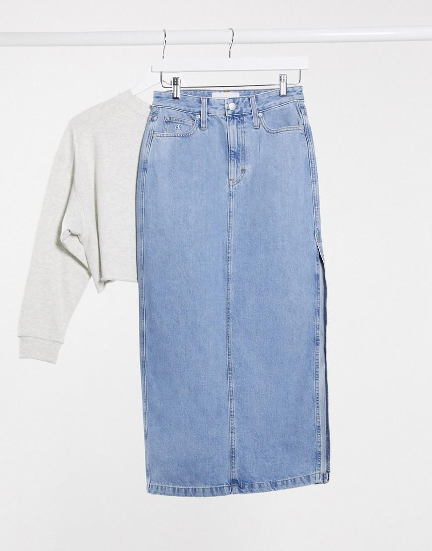 Синяя джинсовая юбка миди Calvin Klein Jeans