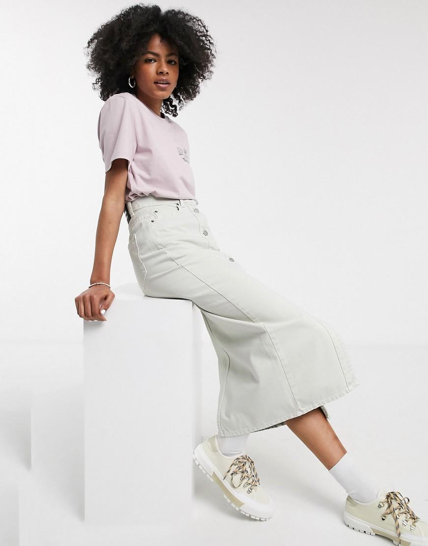 Бежевая джинсовая юбка с пуговицами Dr Denim