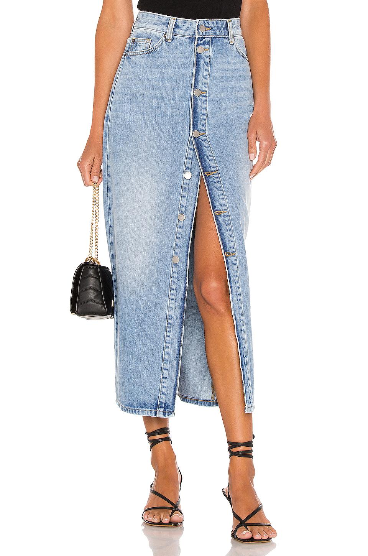 Длинная джинсовая юбка на пуговицах