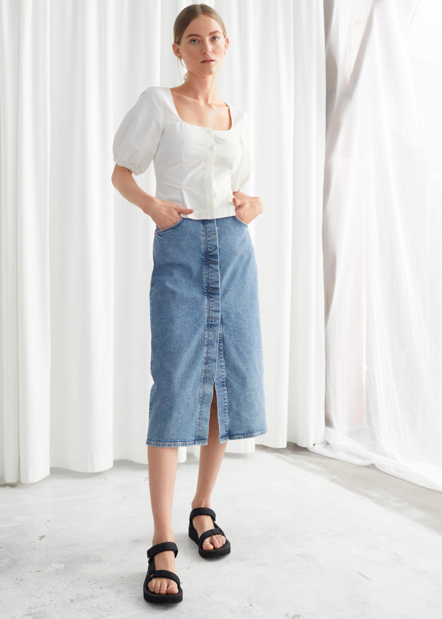 Синяя джинсовая юбка миди из органического хлопка с пуговицами