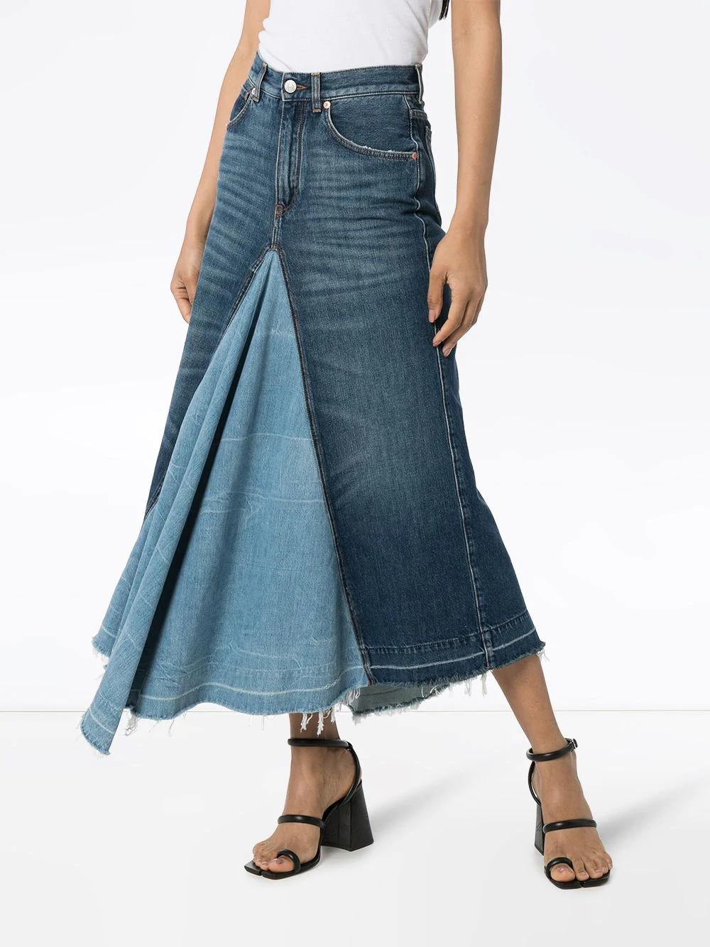 джинсовая юбка миди с контрастными вставками