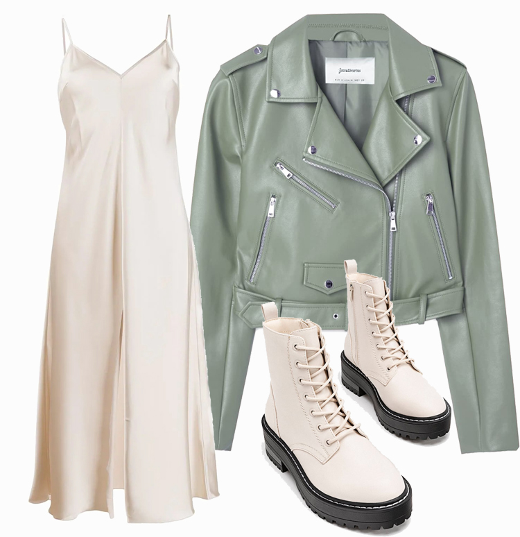 Платье комбинация с косухой
