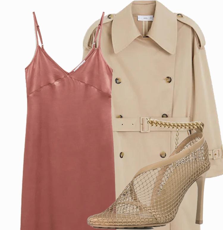 Платье комбинация с тренчем