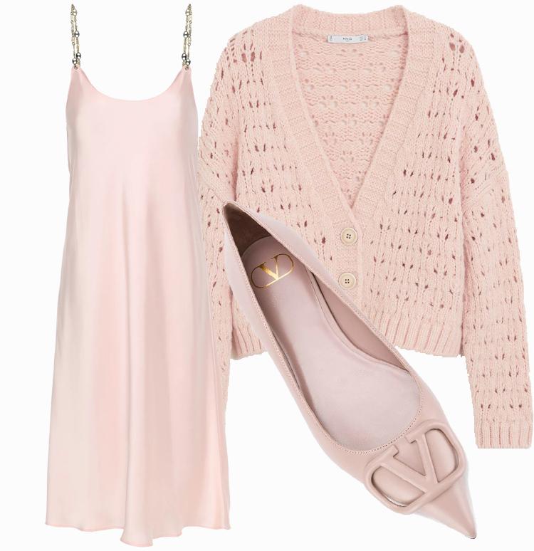 Платье комбинация с кардиганом